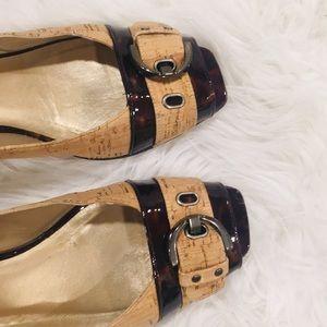 Stuart Weitzman Cork and Leopard Glossy Heels